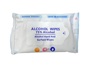 Alcohol Wipes - Travel Size - 6 Packs of 10 (60 Total) - 75% Alcohol