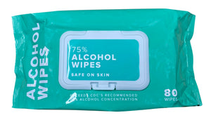 Alcohol Wipes - 3 Packs of 80 (240 Total) - 75% Alcohol - Wet Wipes