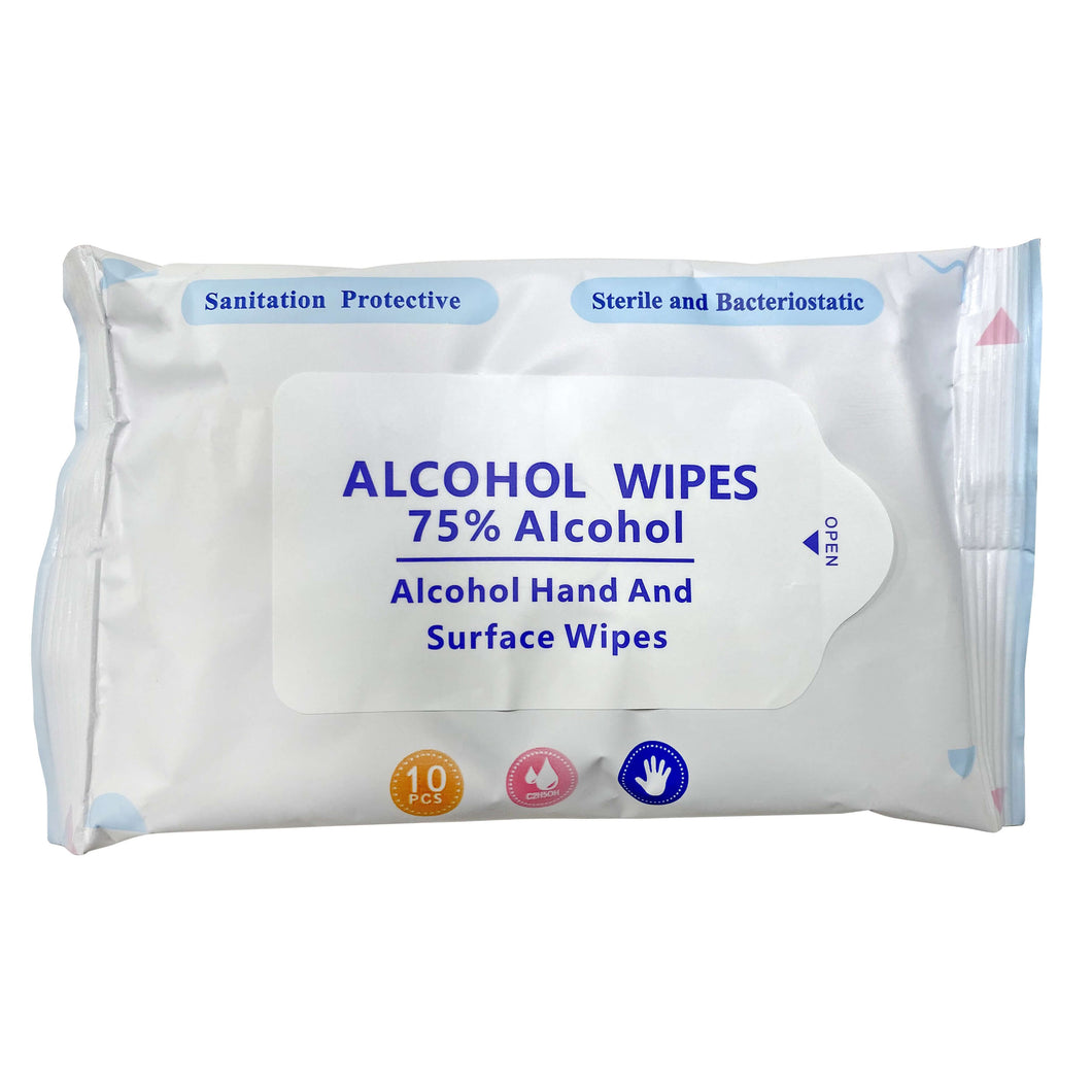 Alcohol Wipes - Travel Size - Pack of 10 - 75% Alcohol