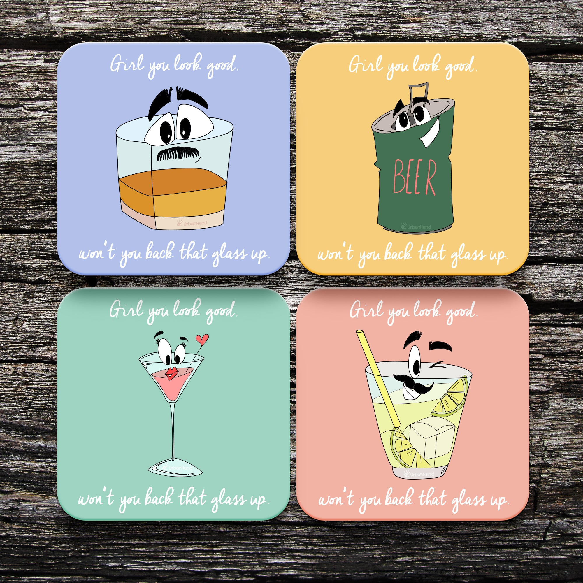 Back That Glass Up Coasters - Set of 4