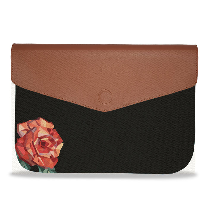 Black solid color Rose envelope Laptop Sleeve