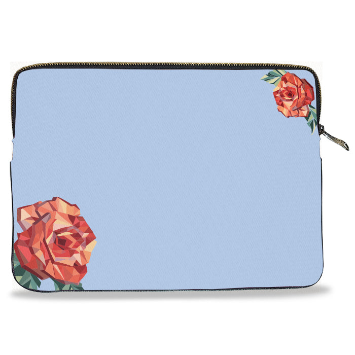 Blue Solid Color Rose Canvas Laptop Sleeve