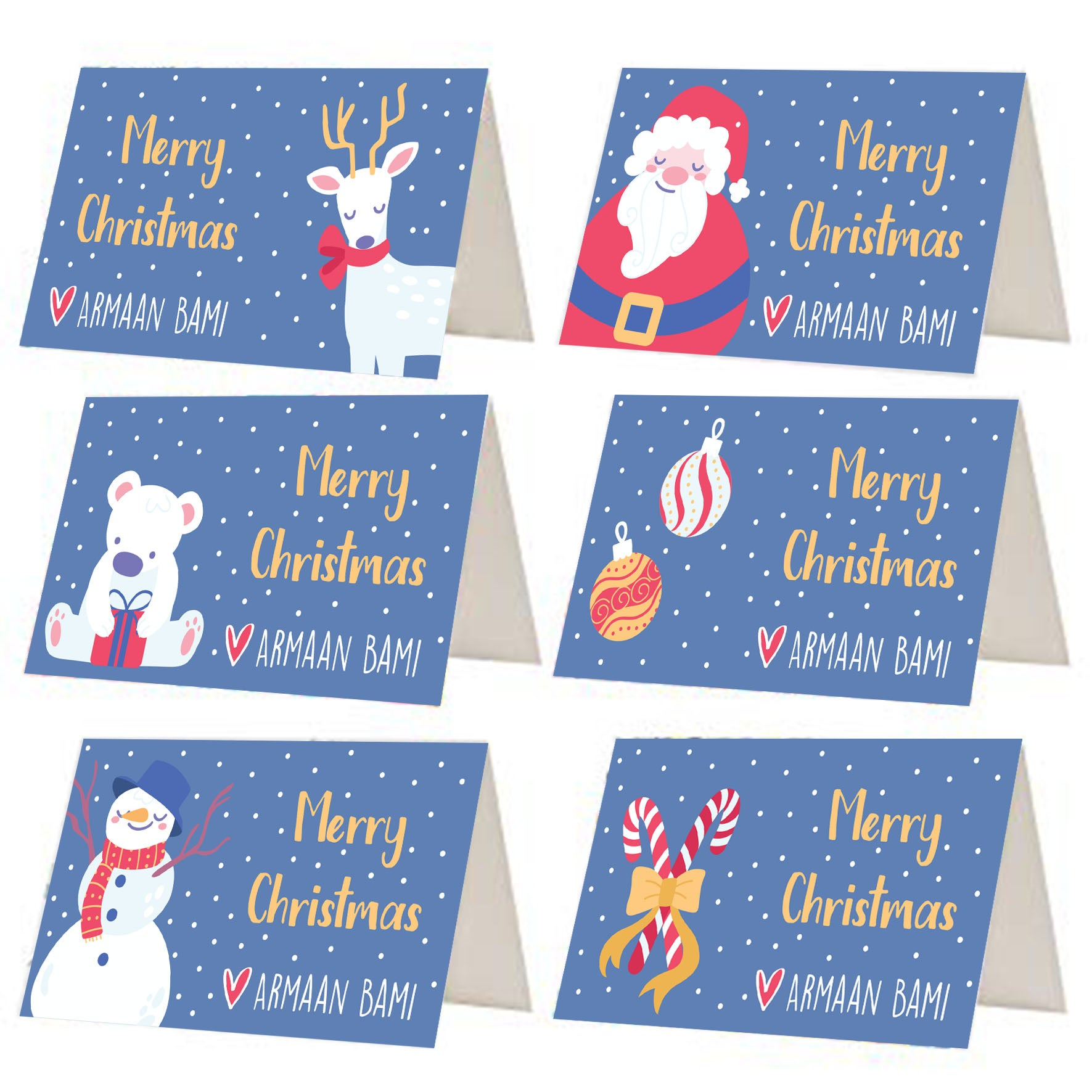 Blue Christmas Gift Tags - Set of 12 or 24