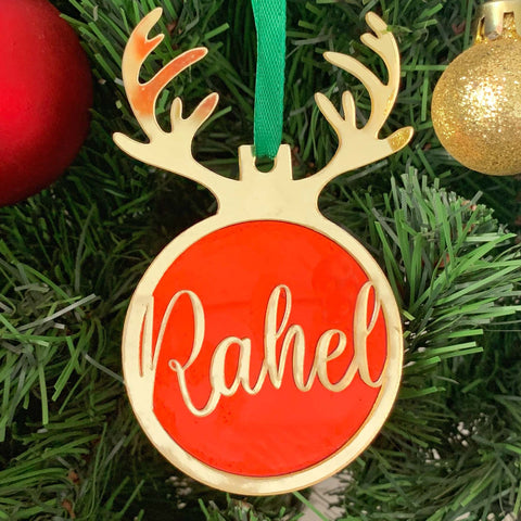 personalised reindeer christmas ornament urbanahand