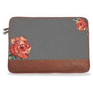 Gray Solid Rose Canvas & Vegan Leather Laptop Sleeve