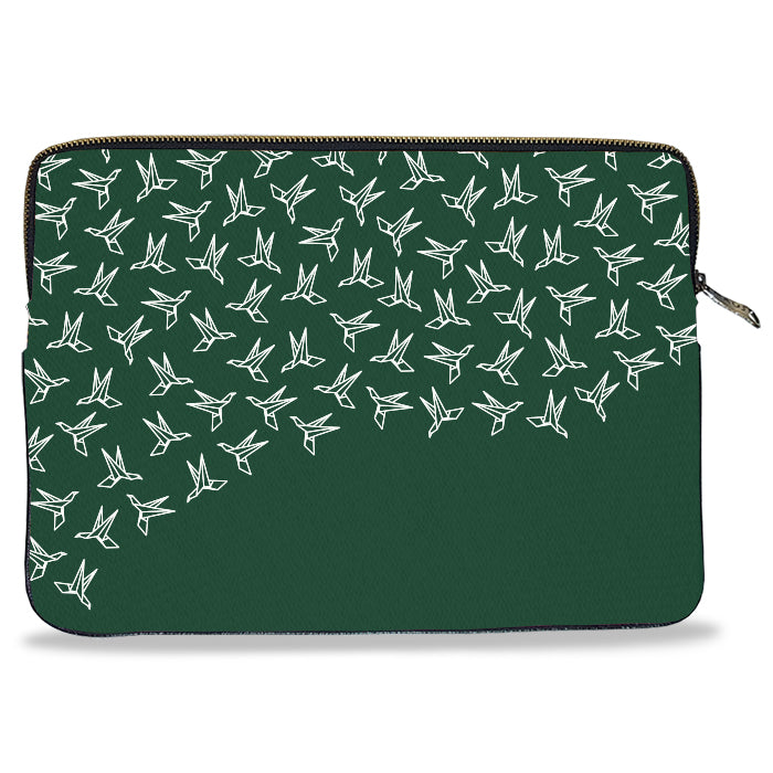 Green Crane Pattern Canvas Laptop Sleeve