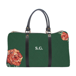 Monogram Personalised Rose Pattern - Bottle Green - Duffle Bag