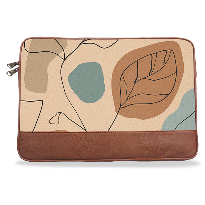 Beige Abstract Canvas & PU Leather Laptop Sleeve