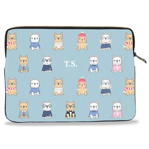 French Bulldog Pattern Canvas Laptop Sleeve