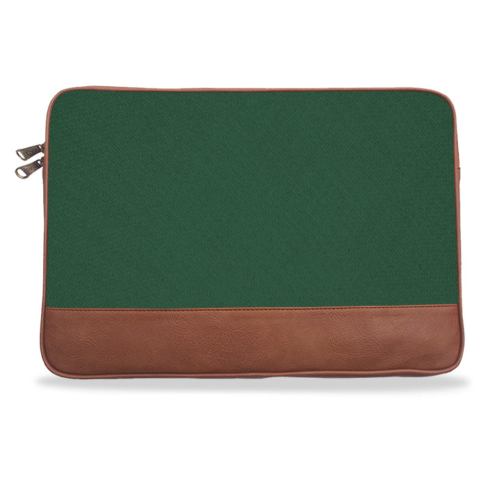 Green Solid Canvas & Vegan Leather Laptop Sleeve