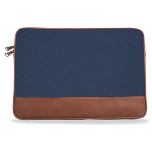 Navy Blue Solid Canvas & Vegan Leather Laptop Sleeve