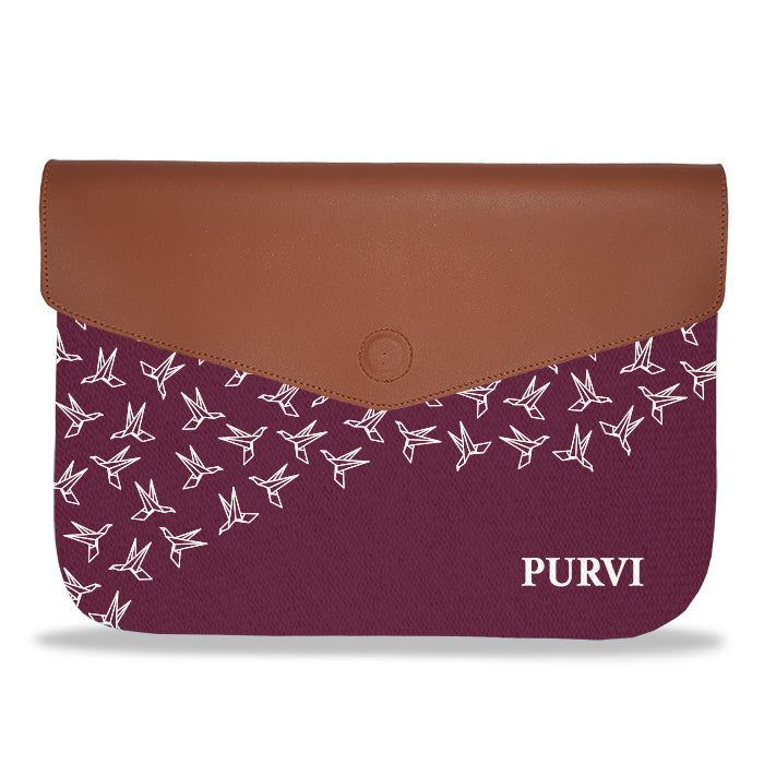 Monogram Personalised Wine Crane Pattern envelope Laptop Sleeve