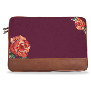 Maroon Solid Rose Canvas & Vegan Leather Laptop Sleeve