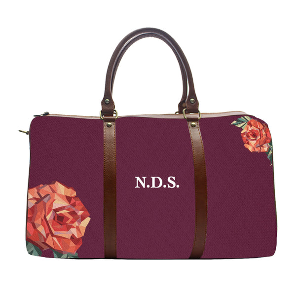 Monogram Personalised Rose Pattern - Wine - Duffle Bag