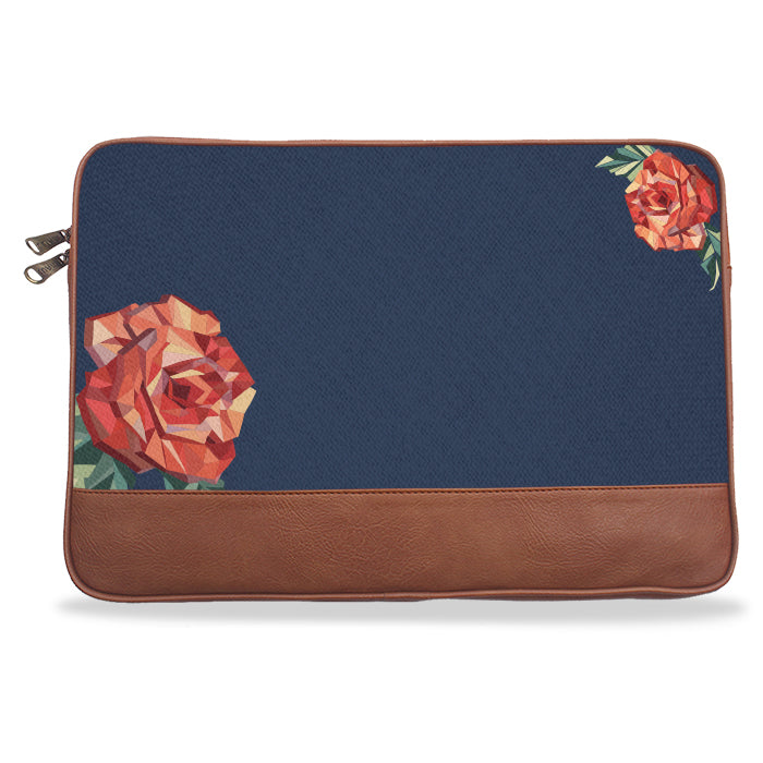 Navy Blue Solid Rose Canvas & Vegan Leather Laptop Sleeve