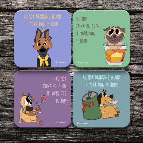 Never Drink Alone Coasters - Set of 4