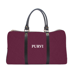Monogramed personalised wine colour duffle travel bag UrbanHand Urban Hand