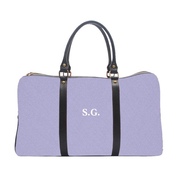 Monogramed personalised lilac colour duffle travel bag UrbanHand Urban Hand