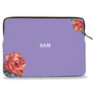 Monogram Personalised of Lilac Rose Pattern Canvas Laptop Sleeve