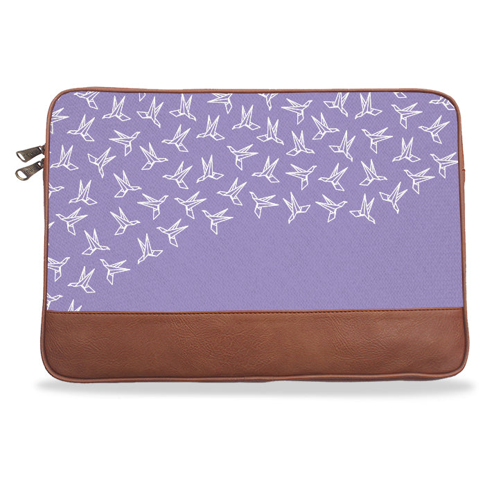 Lilac Crane Pattern Canvas & Vegan Leather Laptop Sleeve