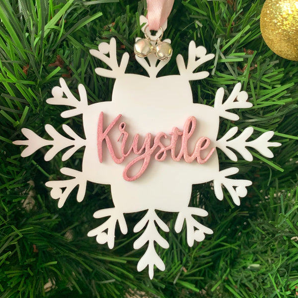 Personalised Christmas Ornament - White Snowflake