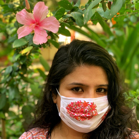 Cotton Floral Mask - Pink
