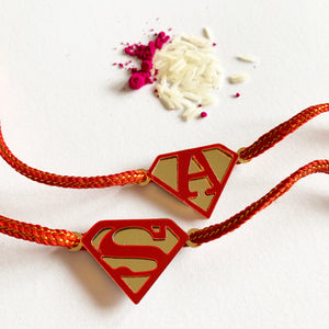 Personalised Rakhi - Super Letter - Red