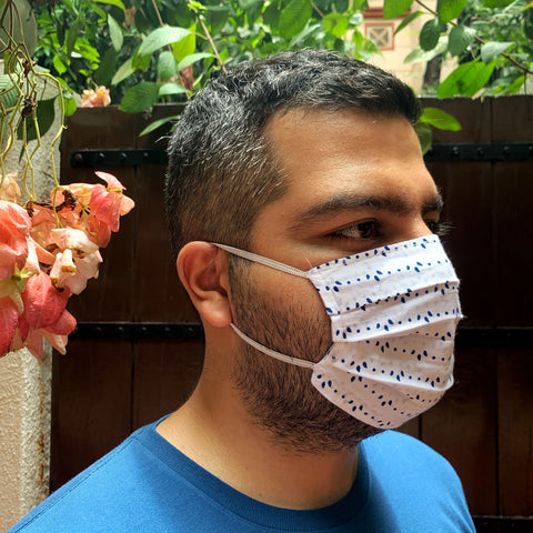 Cotton Mask - Blue Leaf Pattern