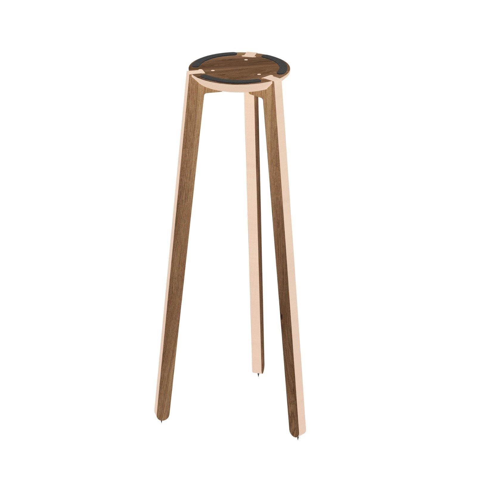 HABIB/CO - Tripod Speaker Stand (walnut) -  height -  base - Carpet Spikes :