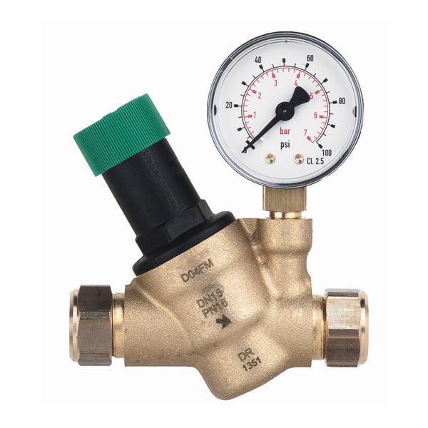 Honeywell 15mm Pressure Reducing Valve With Gauge D04FM-1/2ZGC