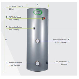Joule Cyclone Standard Direct Unvented Cylinder, 200 Litre, Stainless Steel JDSMSTD200