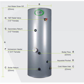 Joule Cyclone Standard In-Direct Unvented Cylinder, 150 Litre, Stainless Steel JIDSTD150