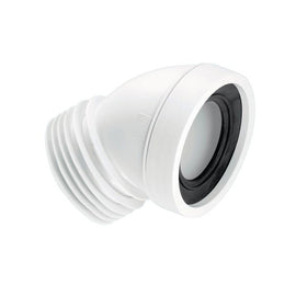 McAlpine WC-CON16 45° Angle Rigid WC Connector White 110mm