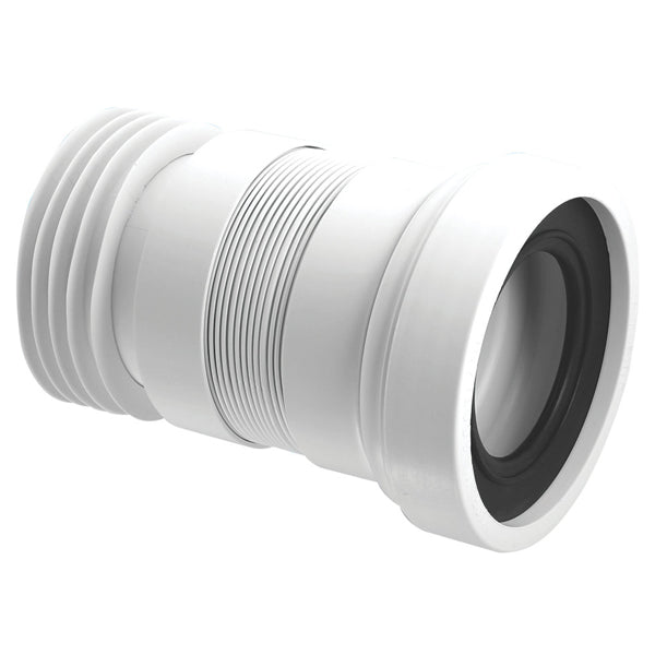 McAlpine WC-F18R Straight Flexible WC Pan Connector White 110mm (100-160mm)