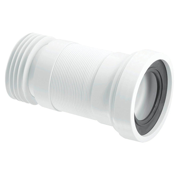 McAlpine WC-F23R Straight Flexible WC Pan Connector White 110mm (140-290mm)
