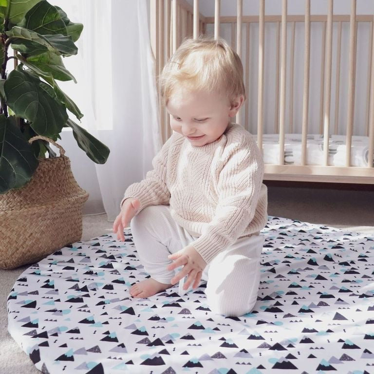 wateproof baby playmat blue geometric mountains