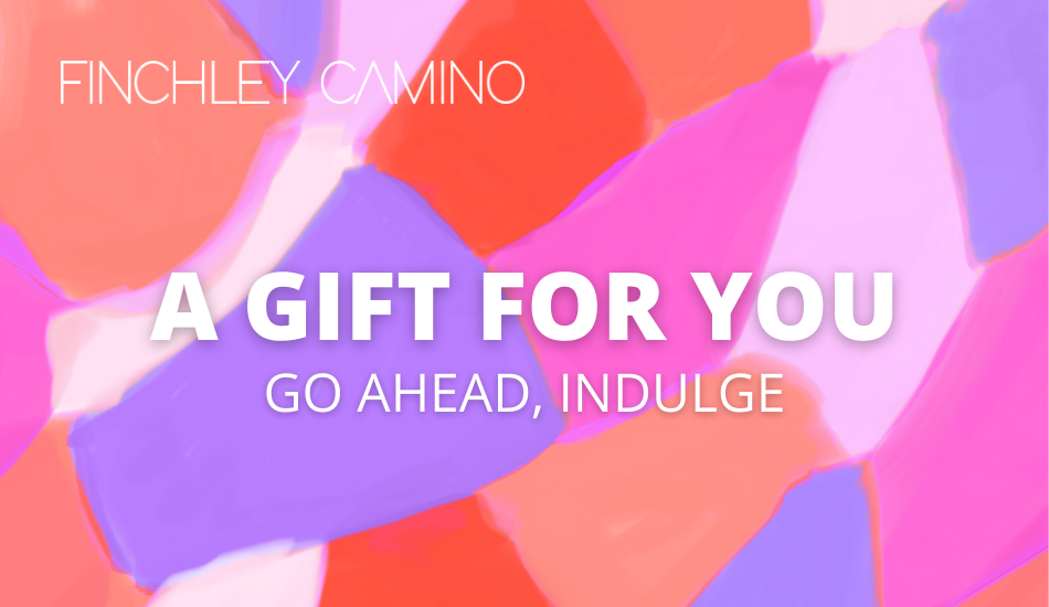 Gift card for Los Angeles-made fashion brand Finchley Camino with a pink abstract print in the background and text that reads