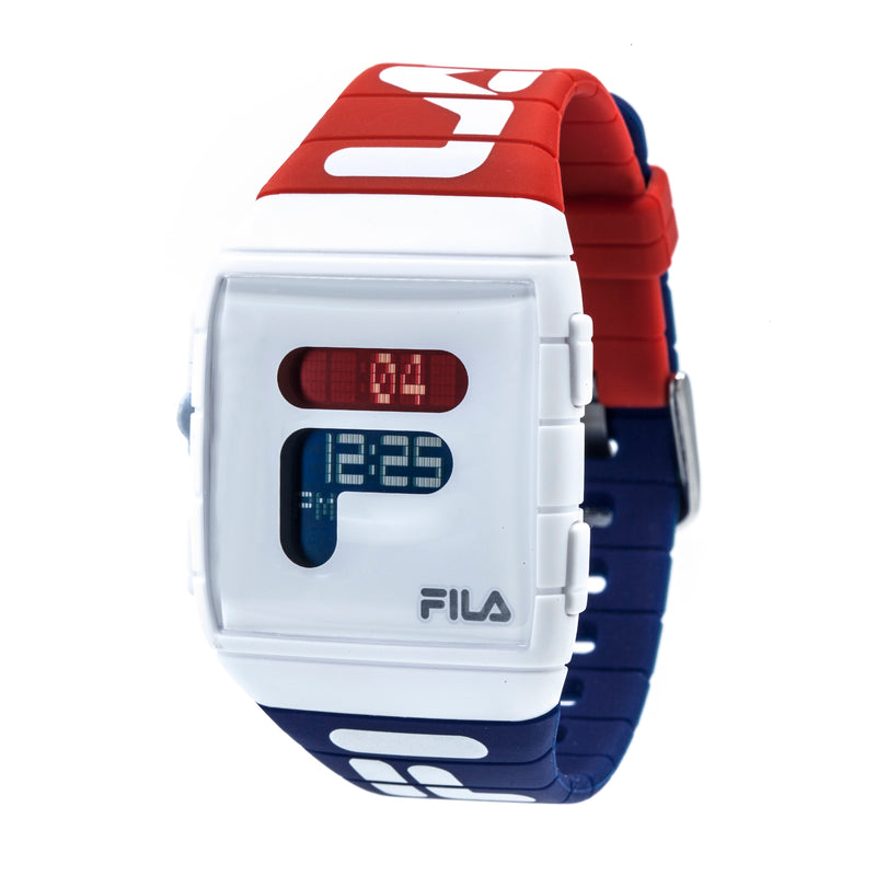Picture of FILA Watch | 38-105-005 | Men's and Women's Red, White, and Blue Analog Watch at 45 degree angle