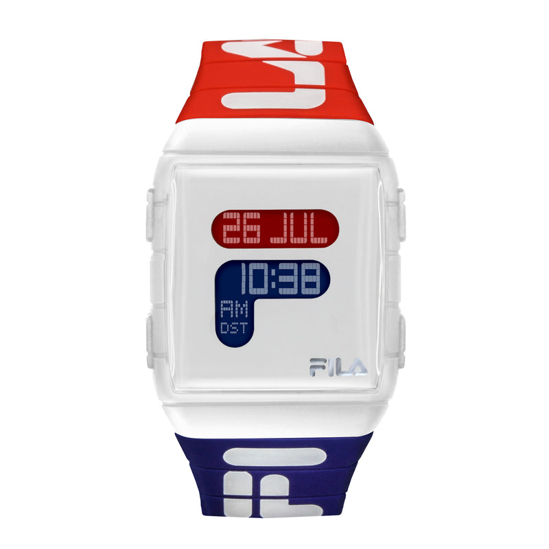 FILA | 38-105-005 | Men's and Women's Red, White, and Blue Digital Watch | World Time | Light Up Face | Water Resistant
