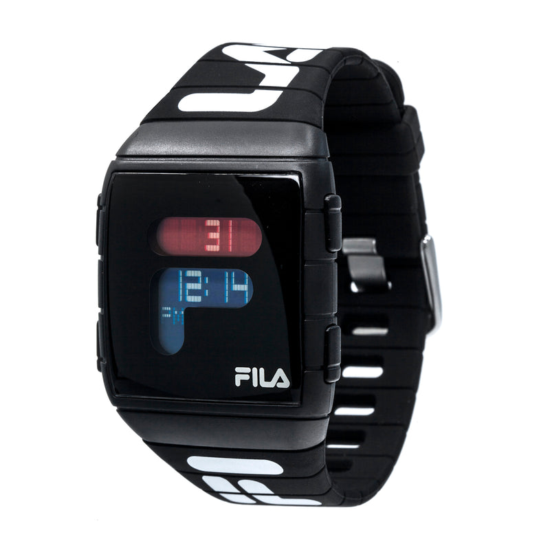 Picture of FILA | 38-105-006 | Men's and Women's Black Digital Watch | World Time | Light Up Face | Water Resistant at a 45 degree angle