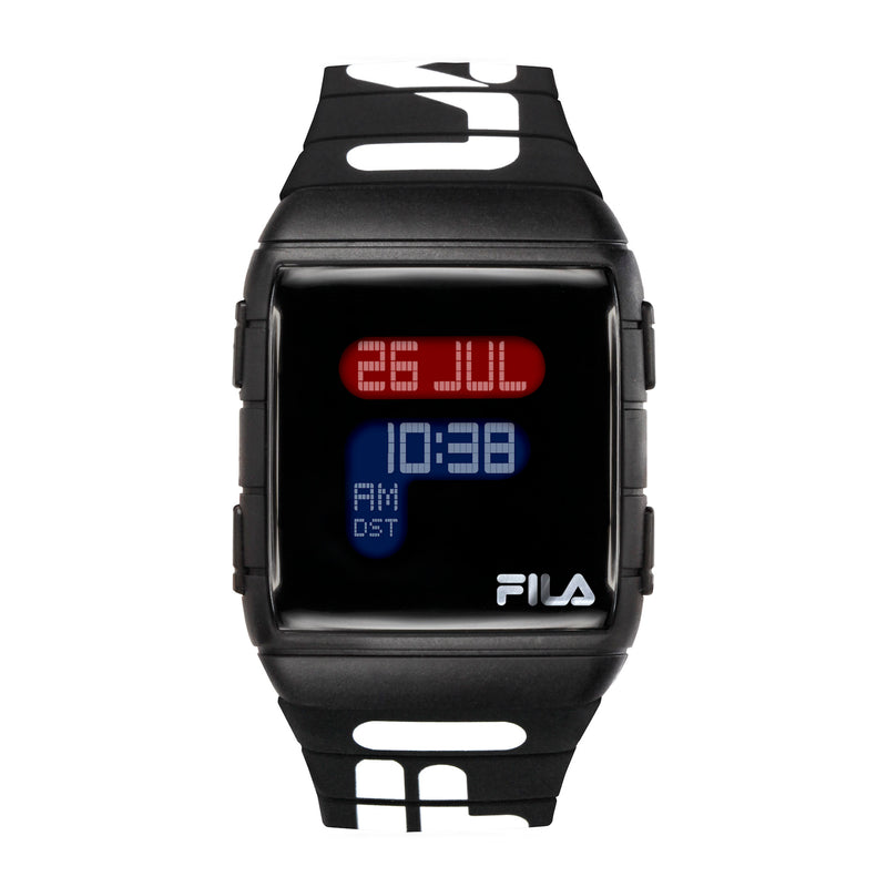 FILA | 38-105-006 | Men's and Women's Black Digital Watch | World Time | Light Up Face | Water Resistant