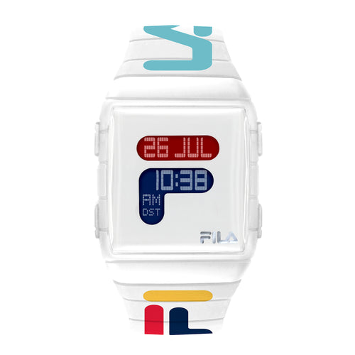 Picture of FILA | 38-105-007 | Men's and Women's White and Multicolor Digital Watch | World Time | Light Up Face | Water Resistant