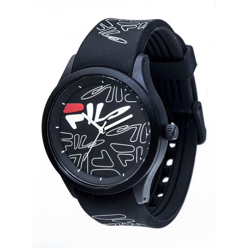 Picture of FILA | 38-129-202 | Men's and Women's White Analog Watch with Black and White Silicone Strap | Water Resistant at a 45 degree angle