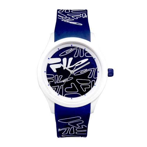 Picture of FILA | 38-129-203 | Men's and Women's White Analog Watch with Blue and White Silicone Strap | Water Resistant