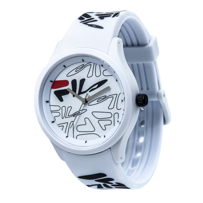 Picture of FILA | 38-129-204 | Men's and Women's White Analog Watch with White and Black Silicone Strap | Water Resistant at a 45 degree angle