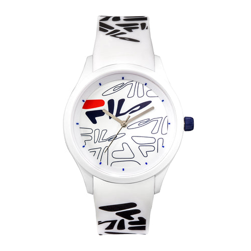 Picture of FILA | 38-129-204 | Men's and Women's White Analog Watch with White and Black Silicone Strap | Water Resistant
