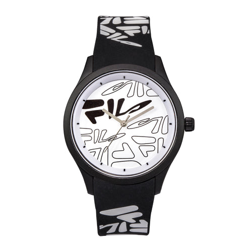 Picture of FILA | 38-129-205 | Men's and Women's White Analog Watch with Black and White Silicone Strap | Water Resistant