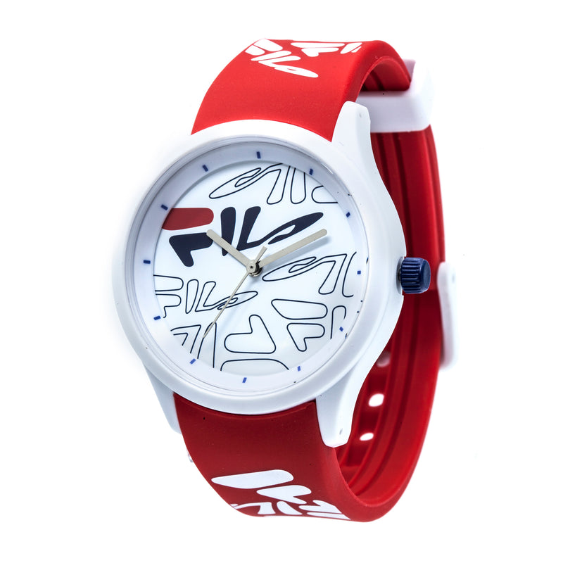 Picture of FILA | 38-129-206 | Men and Women's White Analog Watch with Red and White Silicone Strap | Water Resistant at a 45 degree angle