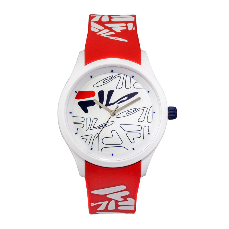 Picture of FILA | 38-129-206 | Men and Women's White Analog Watch with Red and White Silicone Strap | Water Resistant