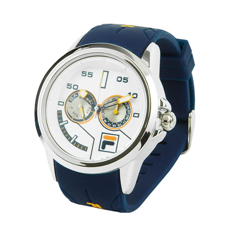Picture of FILA | 38-169-202 | Men and Women's Blue and Stainless Steel Analog Watch | Water Resistant | Date Tracker at a 45 degree angle